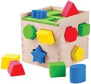 Сортер - Дървено кубче - Играчка с фигури за сортиране - играчка