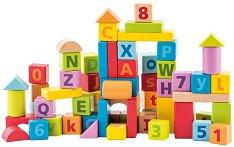 Детски дървен конструктор - 60 елемента - С цифри и букви -