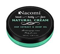 Nacomi Natural Cream Only for Men - Хидратиращ крем за мъже за лице, ръце и тяло с екстракт от хмел и конопено масло -