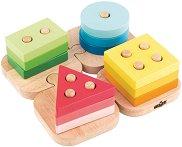 Геометрични фигури за нанизване - Детски образователен комплект от дърво - играчка