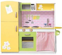 Детска кухня - Лили - Дървена играчка с аксесоари -