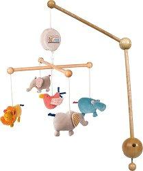 """Музикална въртележка - Животни - Играчка за бебешко креватче от серията """"Les Papoum"""" -"""