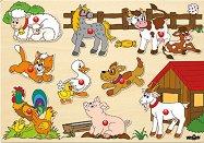 Ферма - Дървен пъзел с 9 части и дръжки - пъзел