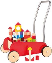 Дървена количка за бутане - Комплект с конструктор -