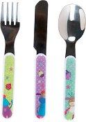 """Детски прибори за хранене - Комплект от вилица, лъжица и нож от серията """"Jolis pas Beaux"""" -"""