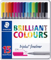 Тънкописци - Triplus 334 - Комплект от 15 или 30 цвята в метална кутия