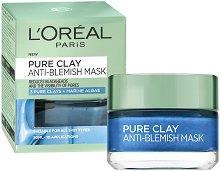"""L'Oreal Pure Clay Anti-Blemish Mask - Маска за лице против несъвършенства с 3 вида глина и морски водорасли от серията """"Pure Clay"""" - гел"""