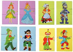 Приказни герои - 8 дървени пъзела с различни фигури - пъзел