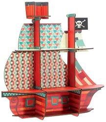Дървена етажерка - Пиратски кораб - Детски аксесоар -
