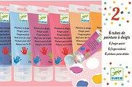 Бои за рисуване с пръсти - Комплект от 6 цвята и палитра