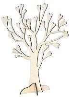 Сглобяема фигурка от шперплат - Дърво със сърца - Предмет за декориране с размери 21 x 25 cm