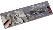 Професионални графични моливи - Cleos - Комплект от 6 броя в метална кутия