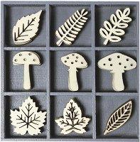 Дървени фигурки - Гъбки - Комплект от 45 броя в кутия