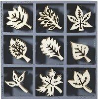 Дървени фигурки - Листа - Комплект от 45 броя в кутия