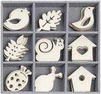 Дървени фигурки - Пролетно настроение - Комплект от 45 броя в кутия