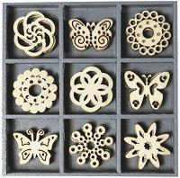 Дървени фигурки - Пеперуди и цветя - Комплект от 45 броя в кутия