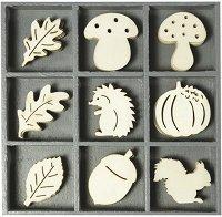 Дървени фигурки - Таралеж - Комплект от 45 броя в кутия