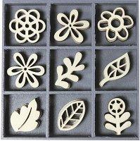 Дървени фигурки - Цветя - Комплект от 45 броя в кутия