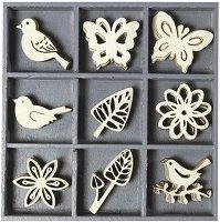 Дървени фигурки - Птици, пеперуди и цветя - Комплект от 45 броя в кутия