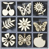 Дървени фигурки - Пеперуди, цветя и плодове