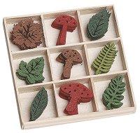 Фигурки от филц - Гъбки и листа - Комплект от 45 броя в кутия