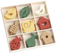 Фигурки от филц - Птици, охлюви и къщички - Комплект от 45 броя в кутия