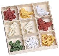 Фигурки от филц - Птици, пеперуди и цветя - Комплект от 45 броя в кутия