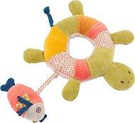 """Костенурка с рибка - Мека играчка за бебе от серията """"Les Papoum"""" -"""