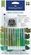 """Акварелни пастели - Зелени нюанси - Комплект от 6 части от серията """"Gelatos"""""""