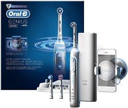Oral-B Genius 8000 Rechargeable Electric Toothbrush - Електрическа четка за зъби с 3 миещи глави, Bluetooth комуникация и стойка за смартфон -