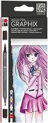 """Акварелни маркери - Ma Ke Manga - Комплект от 6 цвята от серията """"Graphix"""""""