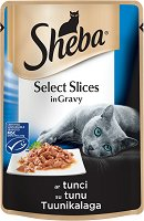 Sheba Cuisine Pouch Tuna Select Slices in Gravy - Риба тон в сос грейви за котки на възраст над 1 година - пауч 85 g - продукт