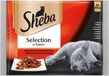 Sheba Cuisine Pouch Meat Menu Selection in Sauce - Четири вида месо в сос грейви за котки на възраст над 1 година - опаковка от 4 пауча x 85 g - продукт