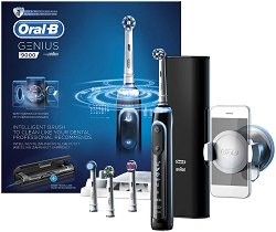 Oral-B Genius 9000 Rechargeable Electric Toothbrush - Електрическа четка за зъби с 3 миещи глави, Bluetooth комуникация и стойка за смартфон -