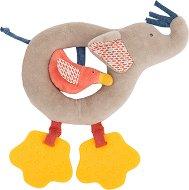 """Слонче с пиленце - Мека играчка с дрънкалка и дъвкалка от серията """"Les Papoum"""" -"""