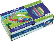 Влакче - Пъзел за оцветяване + 5 цветни пастела -