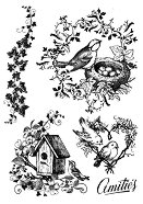 Гумен печат - Птици и гнезда -