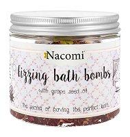 Nacomi Fizzing Bath with Grape Seed Oil - Бомбички за вана с масло от гроздови семки - 4 броя -