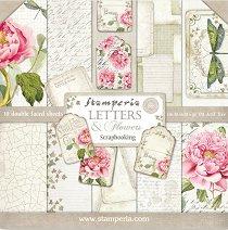 Хартии за скрапбукинг - Букви и цветя - Комплект от 10 листа
