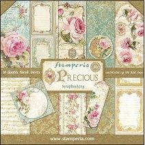 Хартии за скрапбукинг - Рози и ноти - Комплект от 10 листа