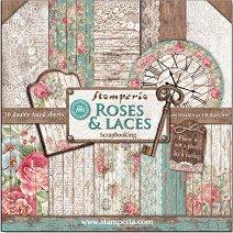 Хартии за скрапбукинг - Рози, дантели и дърво - Комплект от 10 листа