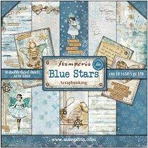 Хартии за скрапбукинг - Сини звезди - Комплект от 10 листа