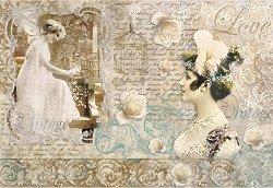 Декупажна хартия - Любовно писмо - Размери 50 x 35 cm