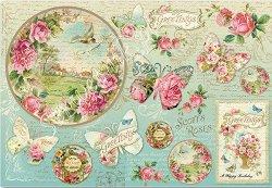 Декупажна хартия - Пеперуди и рози - Размери 50 x 35 cm