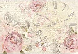Декупажна хартия - Рози и часовник - Размери 50 x 35 cm