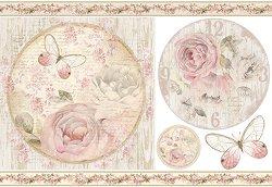 Декупажна хартия - Рози и орнаменти - Размери 50 x 35 cm