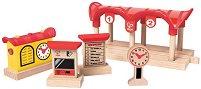 """Железопътна гара - Детска дървена играчка от серията """"Hape: Аксесоари"""" -"""