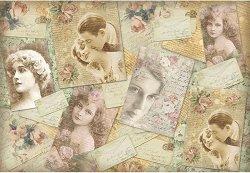 Декупажна хартия - Романтични картички - Размери 50 x 35 cm
