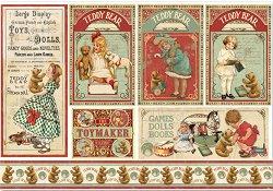 Декупажна хартия - Момичета и мечета - Размери 50 x 35 cm
