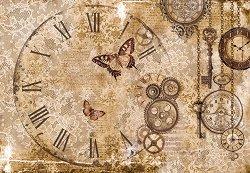 Декупажна хартия - Дантели и часовник - Размери 50 x 35 cm